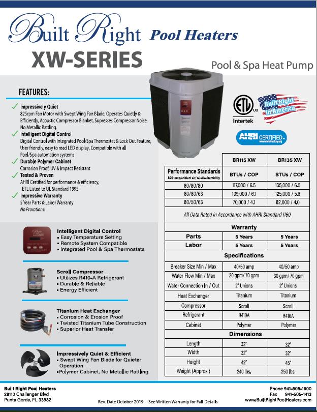 Xw Brochure 2019 Built Right Pool Heaters